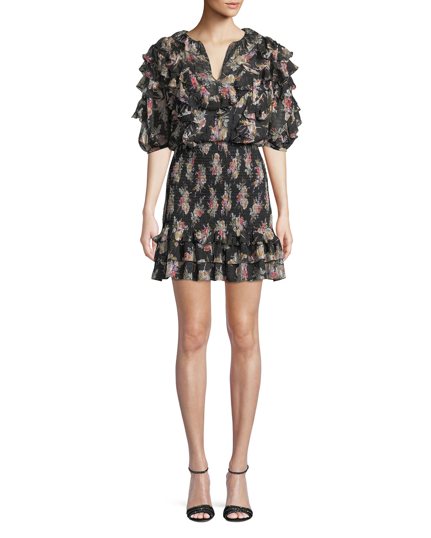 Smocked Short-Sleeve Floral Ruffle Short Dress