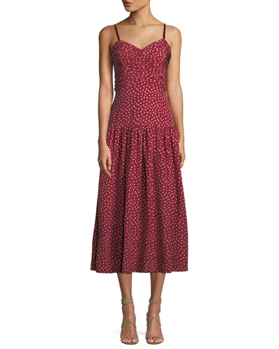 Shirred Heart-Printed Silk Midi Dress