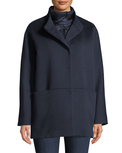 Button-Front Wool Coat w/ Removable Nylon Bib