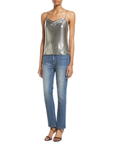 Fabrice Studded Straight-Leg Jeans