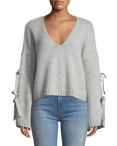 Sidel Cropped Tie-Sleeve Wool Sweater
