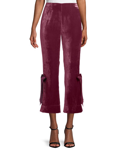 Lou Cropped Velvet Pants w/ Ribbons