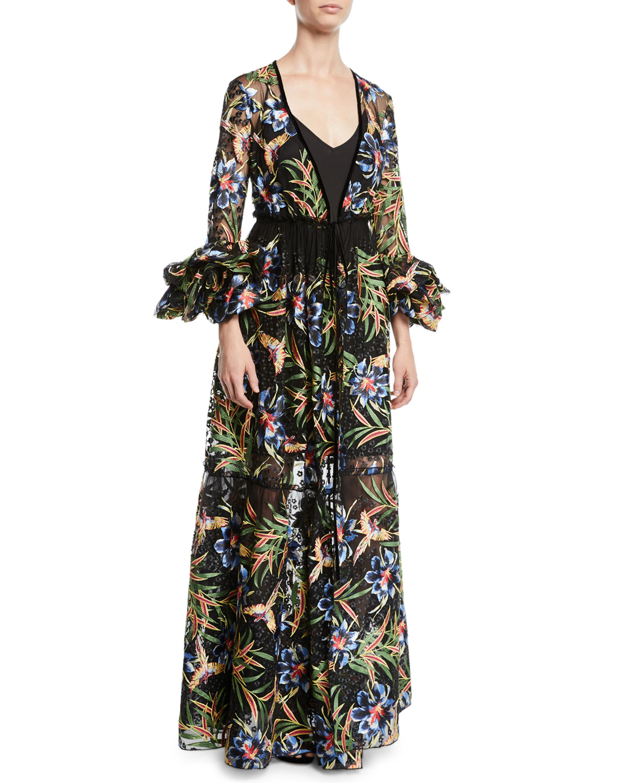 Puff-Sleeve Floral Maxi Wrap Dress