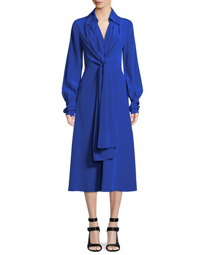 Von Button-Front Long-Sleeve Silk Midi Dress