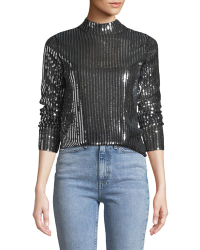 Grace Striped Sequin Long-Sleeve Top