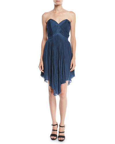 Strapless Pleated Mini Dress w/ Asymmetric Hem