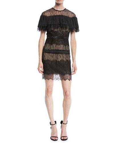 Pleated Lace Mini Dress w/ Beading