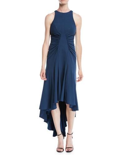 High-Low Halter Dress w/ Ruched Details