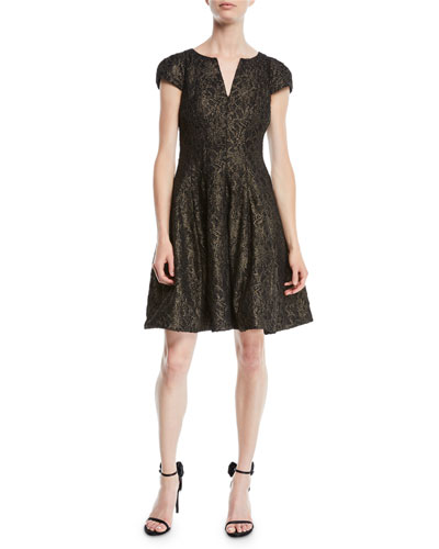 8614aba4e937 Metallic Lace Cap-Sleeve Cocktail Dress w  Slit Neck Quick Look. Halston  Heritage