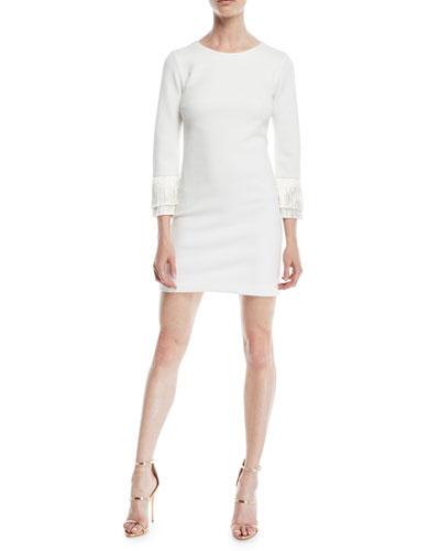 Shimmer Knit Mini Cocktail Dress w/ Fringe Cuffs