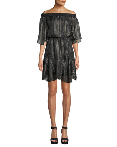 Smocked Off-the-Shoulder Metallic Chiffon Dress