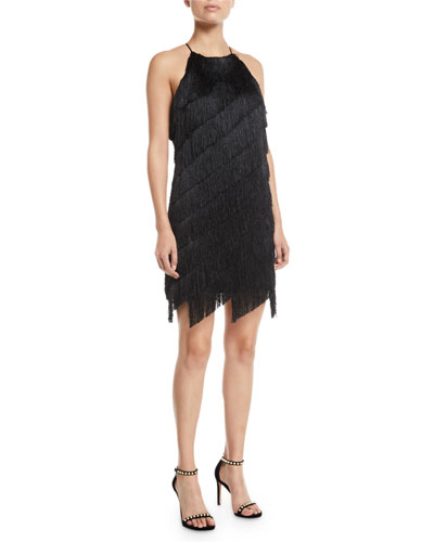 Sleeveless High-Neck Fringe Slip Cocktail Dress