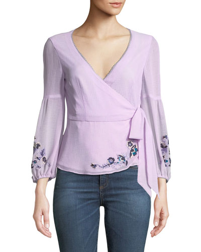 Balance Embroidered Wrap Top