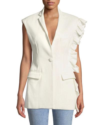 Girl With A Dream Ruffle-Trim Single-Button Vest