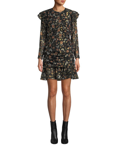 Parc Ruched Floral Ruffle Short Dress
