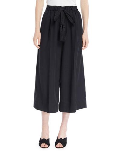 Wool Drawstring Wide-Leg Cropped Pants