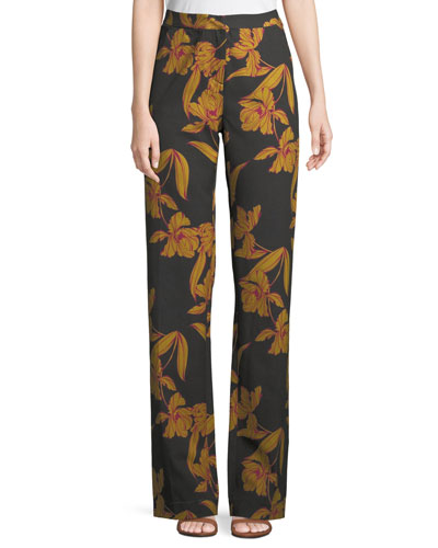 Vaughn Floral-Print Straight-Leg Pants