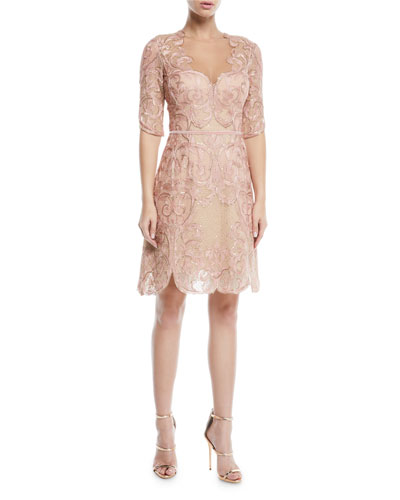 a22ea011e6a Marchesa Notte Dress. Metallic Filigree Embroidered Cocktail Dress w   Velvet Trim