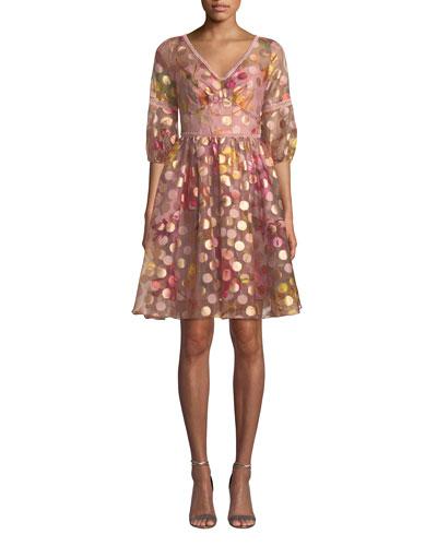 Bubble-Sleeve Fil-Coupe Dress