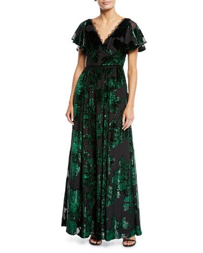 4bc2b5d488cb V-Neck Velvet Burnout Lace-Trim Gown Quick Look. Marchesa Notte
