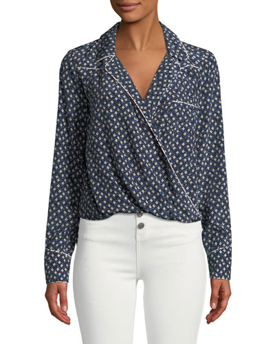 Worth Floral-Print Long-Sleeve Silk Top