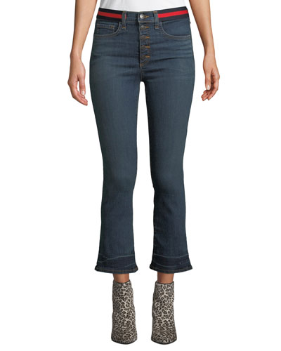 Carolyn Cropped Baby Boot-Cut Jeans with Tuxedo Stripes