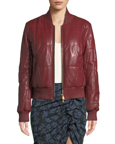 Quilted Sleeve Leather Jacket Bergdorfgoodman