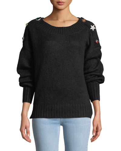 Chase Button-Shoulder Alpaca Sweater