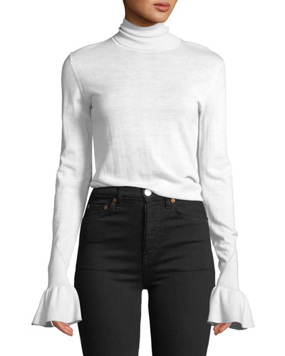 Tol Bell-Sleeve Wool Turtleneck Sweater