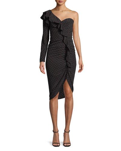 Leona Ruched Polka-Dot One-Shoulder Ruffle Dress
