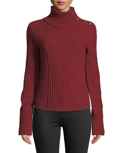 Lucille Ribbed Wool Button-Shoulder Turtleneck Sweater