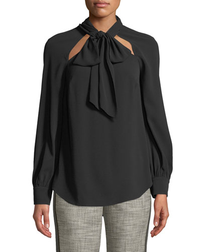 Teel Tie-Neck Cutout Long-Sleeve Blouse