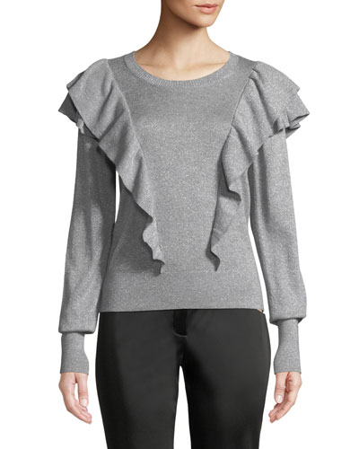 Centre Ruffle Frills Crewneck Metallic-Knit Sweater