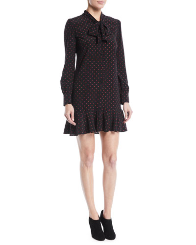 Linley Tie-Neck Long-Sleeve Dot-Print Silk Dress