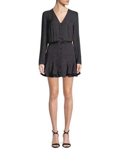 Riggins Button-Front Flounce Mini Dress