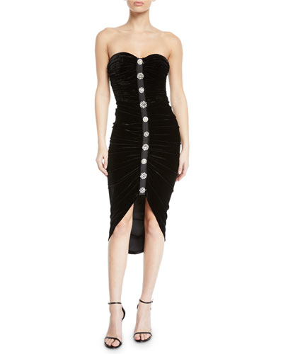 Palo Strapless Ruched Velvet Button-Front Cocktail Dress