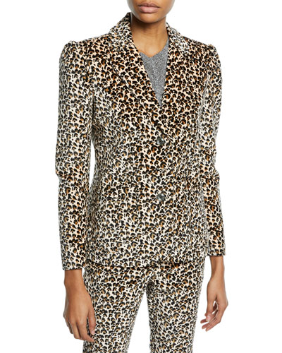 Structured Leopard-Print Velveteen Jacket