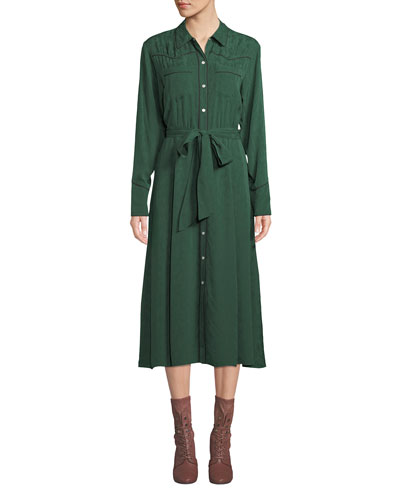 07c09c20 Long Sleeve Silk Shirt Dress | bergdorfgoodman.com