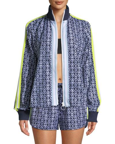 Ikat-Print Zip-Front Neon-Stripe Jacket
