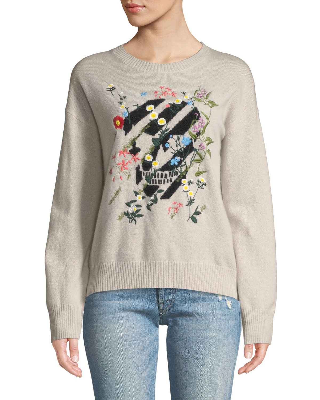 Aji Floral-Embroidered Skull Crewneck Cashmere Pullover Sweater, Pink/Black
