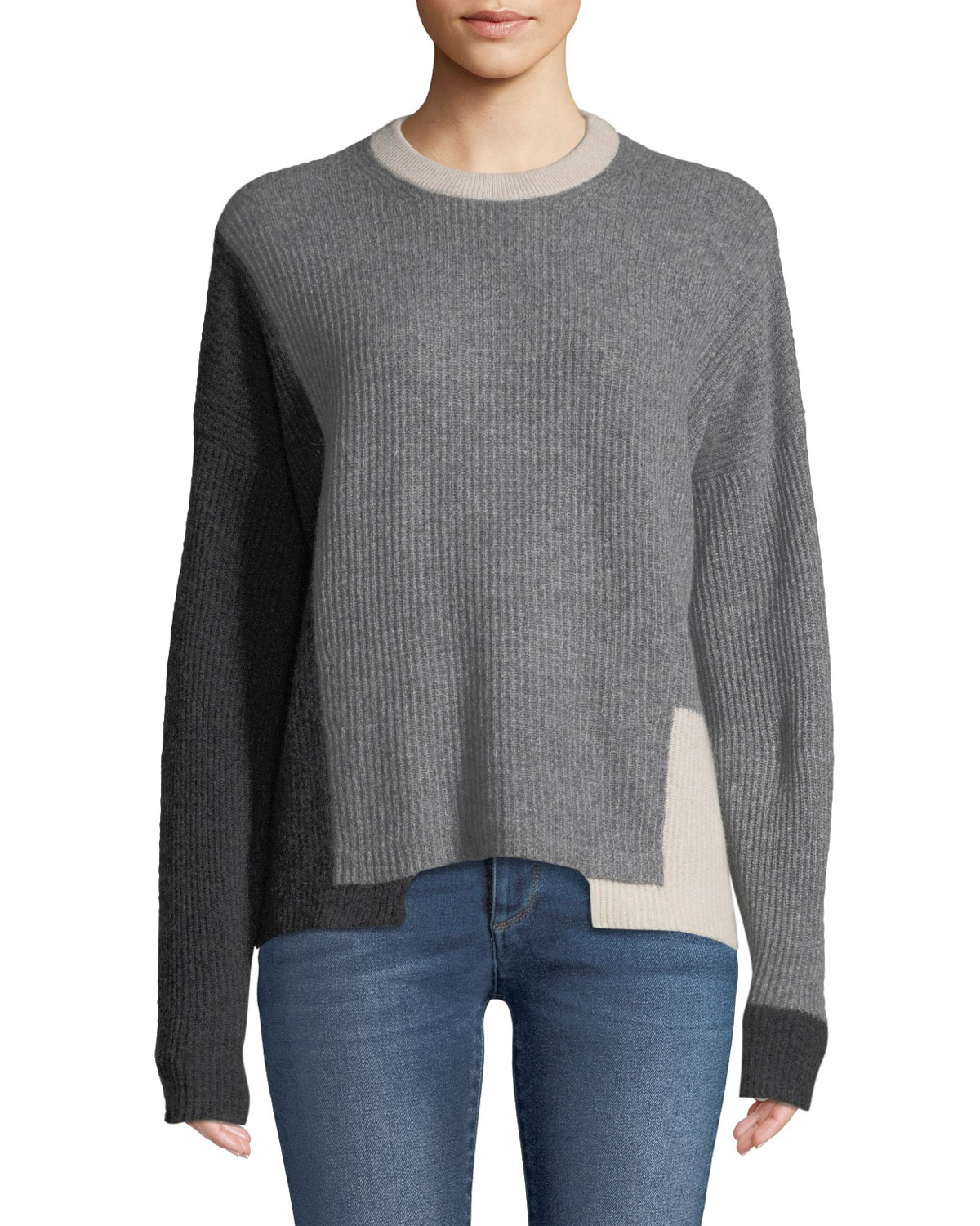 360 SWEATER AKIMA CREWNECK COLORBLOCKED RIBBED CASHMERE PULLOVER SWEATER