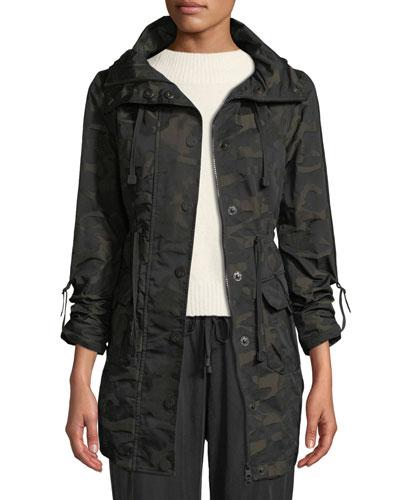 Camo-Print Hooded Anorak Jacket