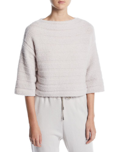 Elbow-Sleeve Boxy Cropped Cashmere-Blend Sweater