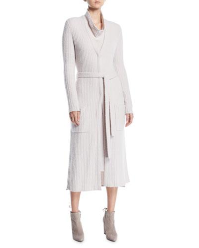 Tie-Belt Long-Sleeve Long Cashmere Cardigan