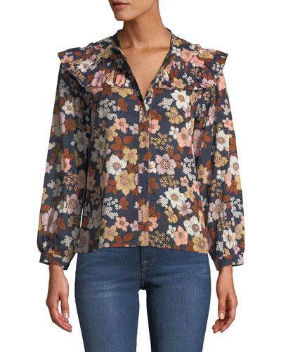 Hayden Floral-Print Button-Front Top