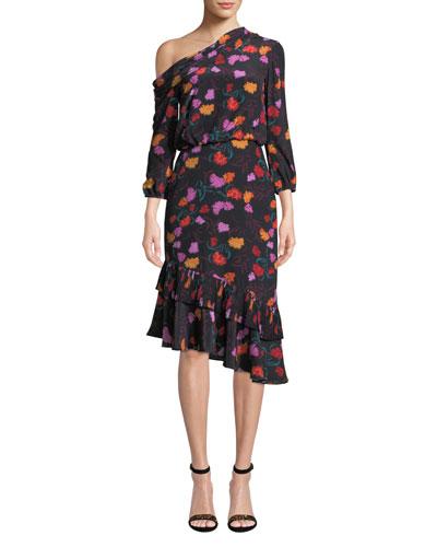 Lexie Off-the-Shoulder Floral-Print Silk Dress