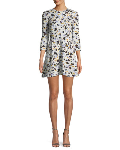 Terry 3/4-Sleeve Abstract-Print Silk A-Line Dress