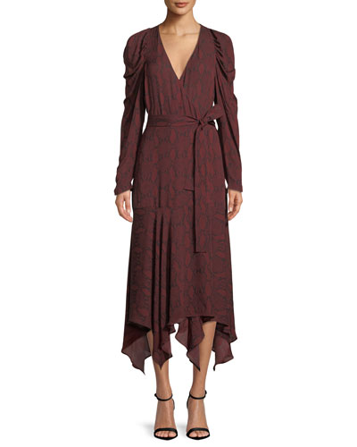 Tianna Snake-Print Long-Sleeve Wrap Dress