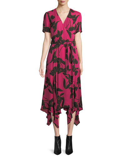 Cora Floral-Print Silk Midi Wrap Dress