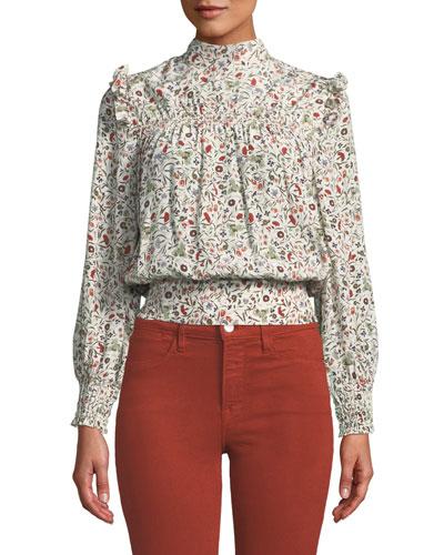 9b8953d1c4664f Smocked High-Neck Floral Silk Blouson Top